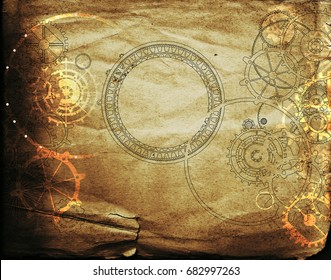 steampunk vintage background with mechanical gears and cogs on canvas paper