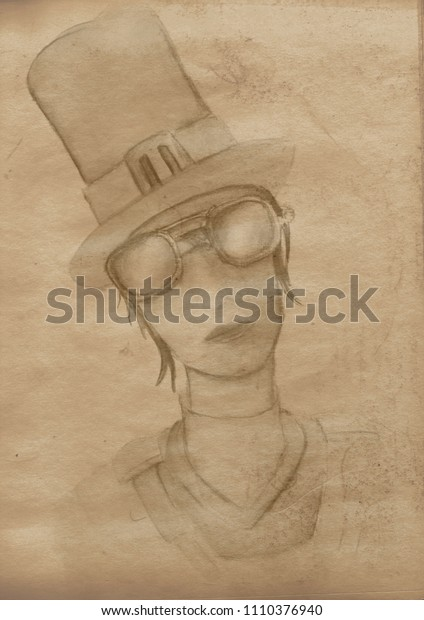 Steampunk vintage girl on  paper canvas background
