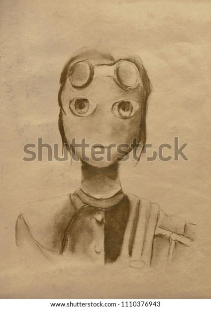 Steampunk vintage girl on  paper canvas background