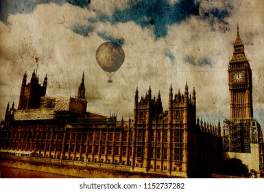 Steampunk vintage London background on grunge canvas paper