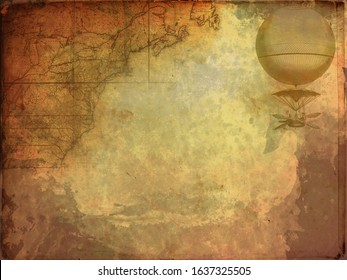 Steampunk vintage map. Dark background, grunge canvas paper. Retro wallpaper.