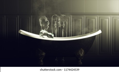 Steamy Black Bathroom With old Iron Bath and Water Nymph Spirit 3d illustration 3d render