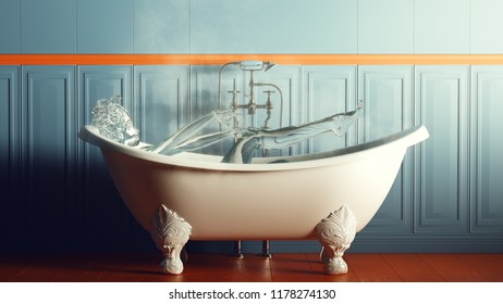 Steamy Blue and Orange Bathroom With Iron Bath and Water Nymph Spirit 3d illustration 3d render