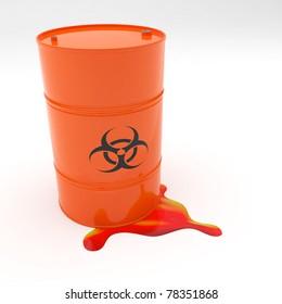 Steel 55 gallon drum orange in color with biohazard symbol leaking contents