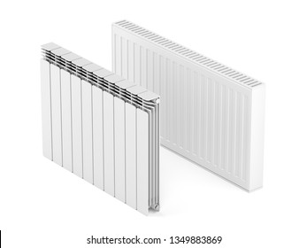 Steel and aluminum heating radiators on white background, 3D illustration