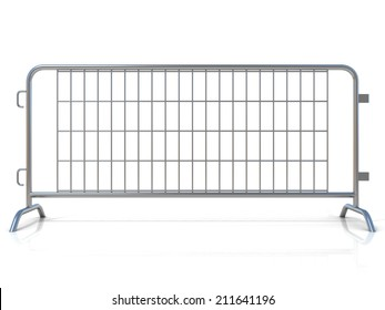 Steel barricades, isolated on white background. Front view
