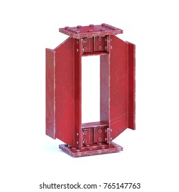 Steel I beam font 3d rendering letter O or number 0