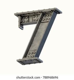 Steel beam font 3d rendering number 7