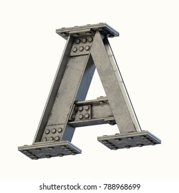 Steel beam font 3d rendering letter A