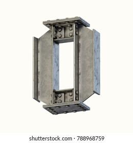 Steel beam font 3d rendering letter O or number 0