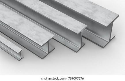 steel beam on white background 3d rendering image