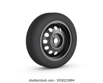 Steel car wheels on a white background. 3d illustration.