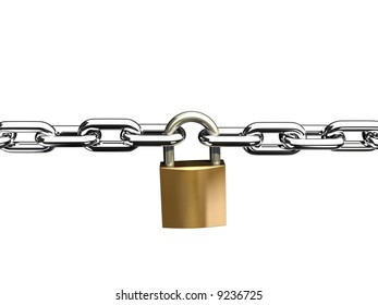 steel chain lock isolated on white