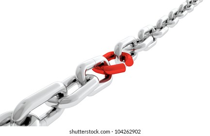 Steel chain with one red broken chain link. Concept of weakness