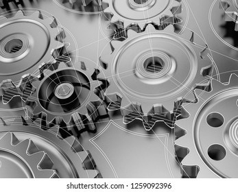 Steel cogwheels in gearbox or engine, part of mechanism combine with drawings. 3d illustration.