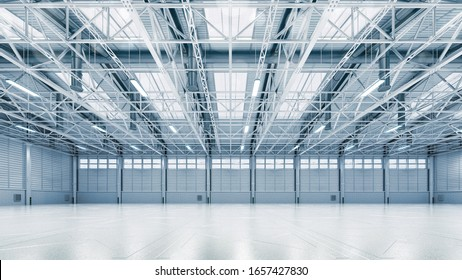 Steel construction factory building indoor general view as industrial 3D background. Own design 3D illustration.