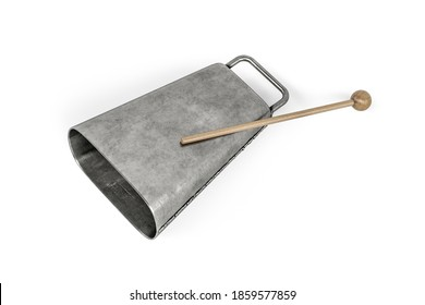 Steel cowbell isolated on white background - 3d render