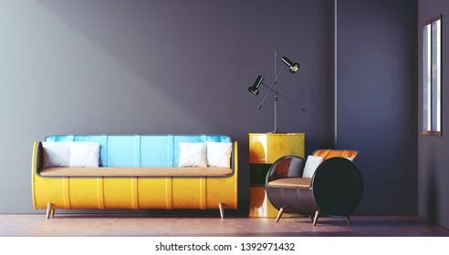 Steel Drum Furniture in Loft Room Design, Living room, Minimal, 3D Rendering
