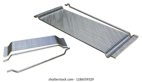 Steel fiber for concrete reinforcement glued in a row isolated on white. 3d rendering