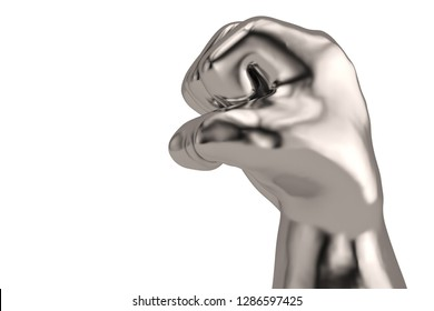 A steel fist isolated on white background. 3D illustration.