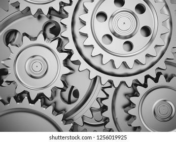 Steel gear wheels in a engine. 3d illustration.