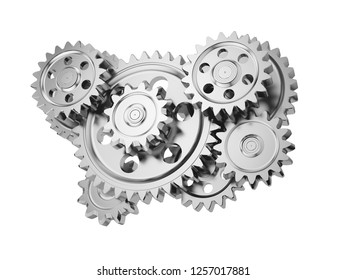 Steel gear wheels isolated on white background. 3d illustration.