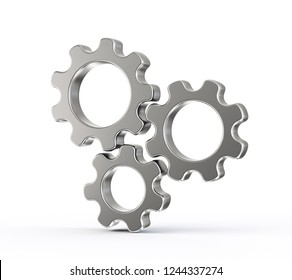 steel gears isolated on a white background. 3d illustration