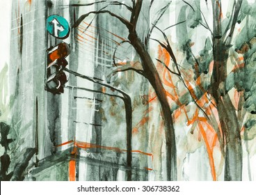 Steel grey morning in city watercolor paper oil canvas acrylic illustration