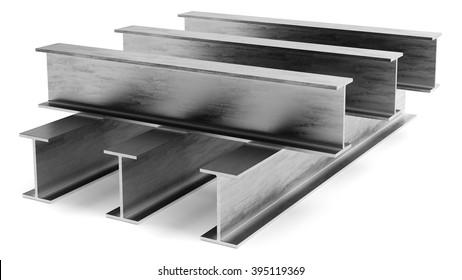 Steel I-beam. Flange beam on a white background
