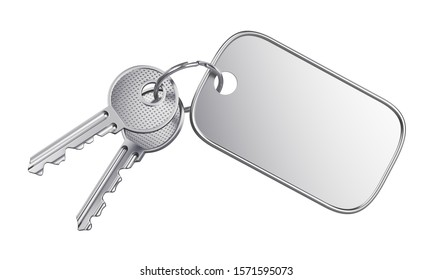 Steel keyring with blank label for text or number and two metal door keys isolated on white background. 3D illustration