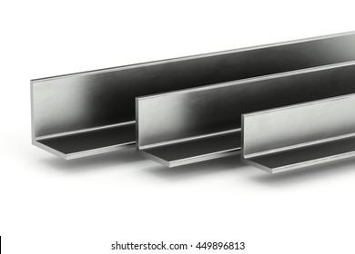 Steel L-Profile. Illustration on white background. 3D rendering