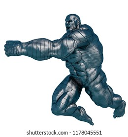 steel man, the muscle man in a white background, will put some creative sensor at yours creations, 3d illustration