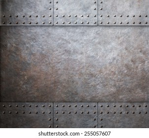 steel metal armor background with rivets