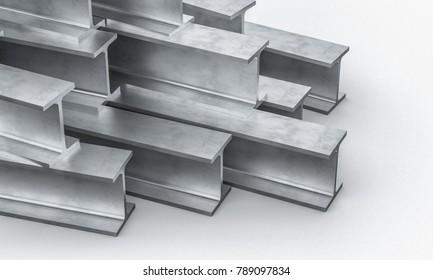steel metal beam on white background 3d rendering image
