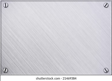 Steel or metal plate background with screws and border