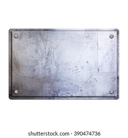 steel metal plate isolated on white