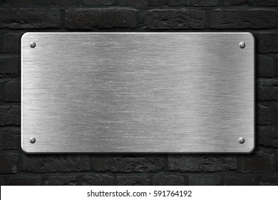 steel metal plate over brick wall 3d illustration