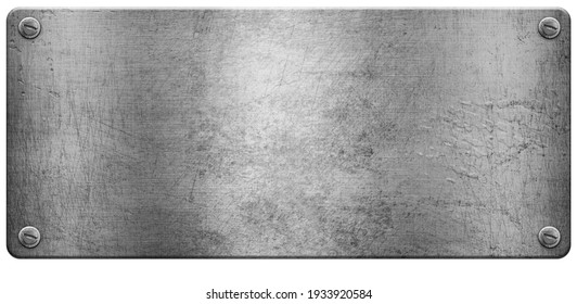 Steel metal plate with space for your text isolated on white background 3D illustration.