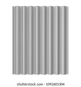 Steel Metal Zinc Galvanized Wave Sheet for Roof on a white background. 3d Rendering