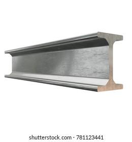 Steel metallurgy I-beam profile 3d render isolated on white background
