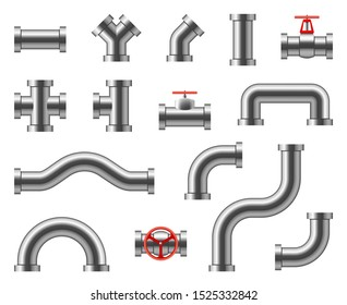 Steel pipes. Metal pipeline connectors, fittings, valves, industrial plumbing for water and gas set isolated