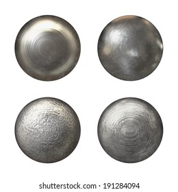 Steel rivet heads collection - isolated on white background