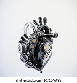 Steel robotic heart, futuristic replacement organ, 3d rendering on light background