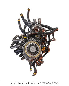 Steel robotic heart, futuristic replacement organ, 3d rendering on white background