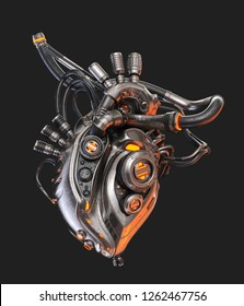 Steel robotic heart, futuristic replacement organ, 3d rendering on dark background