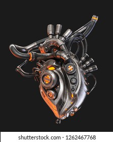 Steel robotic heart, futuristic replacement organ, 3d rendering on dark background