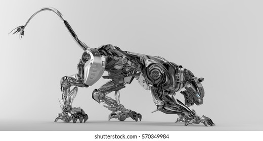 Steel robotic jaguar cat 3d render in a creeping pose/ Panther robot