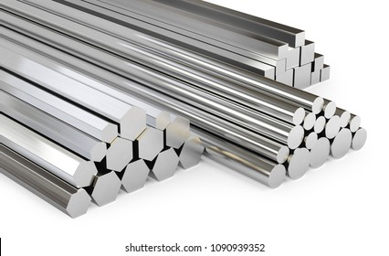 Steel rods of different types. Isolated on white background, clipping path included. 3d illustration.