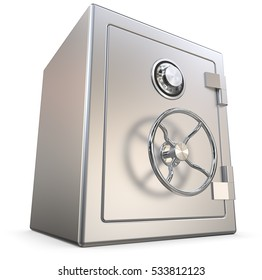 Steel Safe. 3D render of a closed Security Safe. All steel.