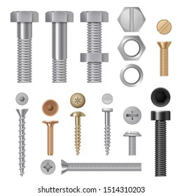 Steel screws bolts. Vise rivets metal construction hardware tools realistic pictures